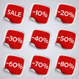 Set of red rectangle sale stickers Royalty Free Stock Photos