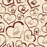Set of red retro love heart grunge seamless pattern Stock Photos