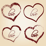 Set of red retro love heart grunge symbols Stock Photos