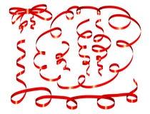 Set of red ribbon stock illustration