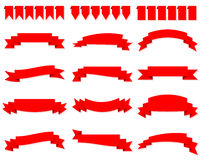 Set of red ribbon banners vector Royalty Free Stock Images
