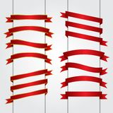 Set of red ribbon banners Vector graphic Stock Images