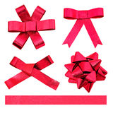 Set of red ribbon bows. Royalty Free Stock Photo