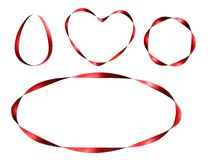 Set of red ribbon frames. Royalty Free Stock Images