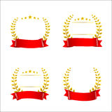 Set of red ribbon and gold wreaths, blank award template isolate Royalty Free Stock Photos