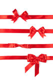 Set of red ribbon satin bows. Isolated on white Royalty Free Stock Photos