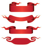 Set of red ribbons Stock Image
