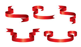 Set of red ribbons. Vector illustration - a set of red tapes with stripes stock illustration