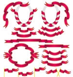 Set of red ribbons. Red Ribbons Set, Isolated On White Background, Vector Illustration Royalty Free Stock Images