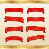 Set of red ribbons and banners Stock Photos