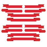 Set of 12 red ribbons at the top and bottom. Set of 12 red ribbons at the bottom and top vector illustration