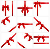 Set red ribbons and bows for gift decoration. beautiful collect Stock Image