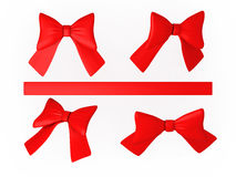 Set of red ribbons with clipping path. Set of red ribbons ,  clipping path included Royalty Free Stock Images