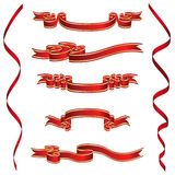 Set of Red Ribbons With Golden Stripes Royalty Free Stock Image