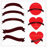 Set of red ribbons, hearts and logos in vintage retro style. for valentines, postcards or Ribbons, Labels, Tags. Stock Image
