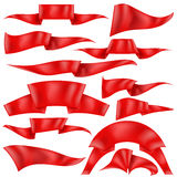 Set of Red Ribbons. Isolated on White Background. Flag Collection Stock Photo