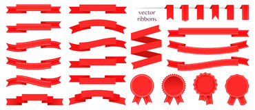Set of red ribbons and round sticker. Paper scrolls. Red ribbon vector icon on white background. Royalty Free Stock Photo