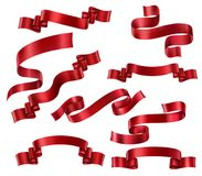 Set of Red Ribbons Stock Images