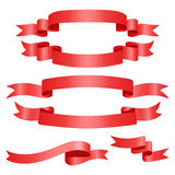 Set of red ribbons. Red Web Ribbons Set, Vector Illustration Stock Photography