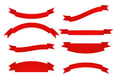 Set of Red ribbons.  on white background. Royalty Free Stock Photo