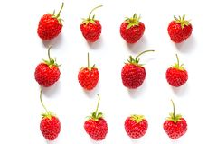 Set red ripe strawberry isolated on white background royalty free stock image