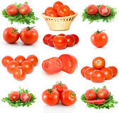 Set of red ripe tomatoes. Isolated on the white background Stock Photo