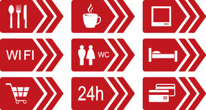 Set of red road icons with arrow Royalty Free Stock Photo