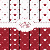 Set of red romantic geometric seamless pattern Royalty Free Stock Images