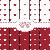 Set of red romantic geometric seamless pattern Royalty Free Stock Photography