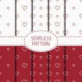 Set of red romantic geometric seamless pattern Stock Image