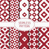 Set of red romantic geometric seamless pattern Stock Photos