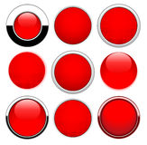 Set red round buttons. Isolated on white Royalty Free Stock Images