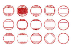 Set of 15 red, round, grunge, rubber stamps - templates. Vector. Illustration for your design in different styles Stock Image