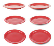 Set of red round plates isoated on white Royalty Free Stock Image