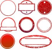 Set of 8 red  rubber stamps templates.  Royalty Free Stock Image
