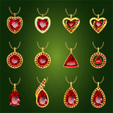 Set of red rubies pendants. Set of realistic red jewels. Colorful red gemstones. Red rubies pendants on green background. Princess cut jewel. Round cut jewel vector illustration