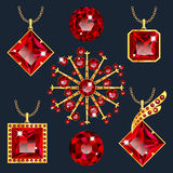 Set of red rubies pendants. Set of realistic red jewels. Colorful red gemstones. Red rubies pendants isolated on green background. Princess cut jewel. Round cut royalty free illustration