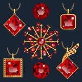 Set of red rubies pendants Stock Photo