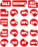 Set of red sale labels Royalty Free Stock Image