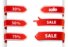 Set of red sale labels. Stock Image
