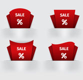 Set of red Sale percent sticker price tag Royalty Free Stock Image