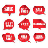 Set of red sale realistic curved paper speech bubbles stickers on white background. Can be used for e-commerce, e-shopping, flyers Stock Images