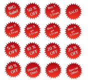Set of red sale stamps Royalty Free Stock Photos
