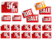 Set of Red Sale Stickers Royalty Free Stock Photography