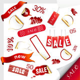 Set of red sale tags. Stock Photos