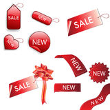 Set of red sale tags Stock Photography