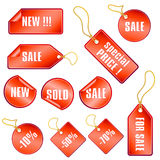 Set of red sale tags and stickers Royalty Free Stock Photography