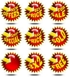 Set of Red Sales Labels Stock Photo