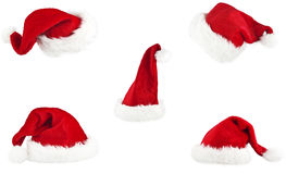 Set of red santa claus hat. On white background Royalty Free Stock Image