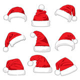 Set of red Santa Claus hats vector illustration